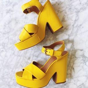 NIB yellow Kate Spade Grace Platform Sandal 6